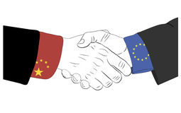 The friendship between China and Europe Union. Handshake of the chinese and european hands Royalty Free Stock Image