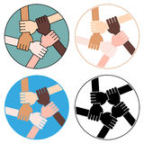 Friendship Circle For Solidarity Four Versions Stock Photo