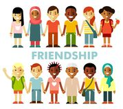 Friendship concept with different multicultural happy children in flat style. Multicultural kids group standing in row together,  on white background Royalty Free Stock Photography