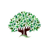 People logo tree hands. Friendship connection tree image. Hands on hand tree Royalty Free Stock Photos