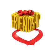 Friendship creative concept. Golden word as gift box with open red ribbon as symbol of close (intimate) friendship, true friendship, tender of friendship or Stock Photography