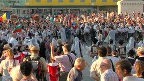 Friendship dance at the International Folklore Festival stock video