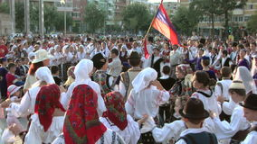 Friendship dance at the International Folklore Festival stock footage