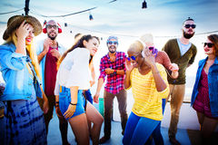 Friendship Dancing Bonding Beach Happiness Joyful Concept Stock Images