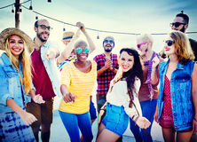 Friendship Dancing Bonding Beach Happiness Joyful Concept Royalty Free Stock Photography