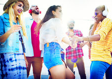 Friendship Dancing Bonding Beach Happiness Joyful Concept Royalty Free Stock Images