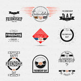 Friendship day badges logos and labels for any use. Eg for design of cards or presentations Royalty Free Stock Images