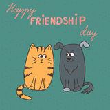 Friendship day card. Cartoon cat and dog Stock Image