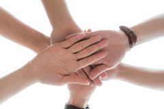 Friendship Day concept. Hands hit and join together. Isolate on white background. success in business. symbolizing to trust each other royalty free stock images