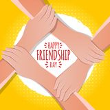 Friendship day concept. hands holding each other stock vector illustration. greeting card design for happy friendship day stock illustration