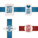 Friendship Day festive Banners with Ribbons Set. Vector Illustration Royalty Free Stock Photography