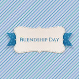 Friendship Day festive Label with Ribbon. And Shadow. Vector Illustration Royalty Free Stock Photo