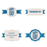 Friendship Day festive Labels and Ribbons Set. Vector Illustration Stock Photos
