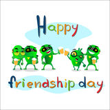 Friendship Day Green Robots Celebrating Friend Holiday Banner. Flat Vector Illustration Stock Image