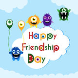 Friendship day greeting card with cute monsters Stock Images