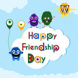 Friendship day greeting card with cute monsters Royalty Free Stock Photo