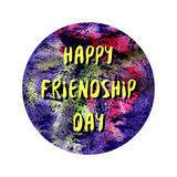 Friendship day in space circle poster. Vector design Royalty Free Stock Image