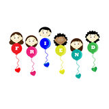 Friendship day title children balloons flags  Royalty Free Stock Photos