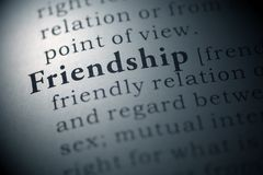 Friendship. Dictionary definition of the word friendship Stock Photo