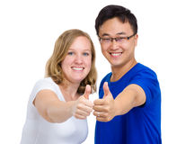 Friendship from different countrywith thumb up Stock Photography