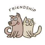 Friendship dog and cat. Best friends. Vector illustration. Royalty Free Stock Images