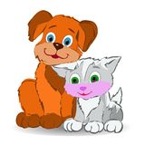 Friendship, Dog and kitten sitting leaning against each other, c. Artoon on white background, vector Stock Photos