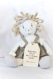Friendship Doll. A cute doll with with a friendship quote printed on the tag attached to it Stock Images