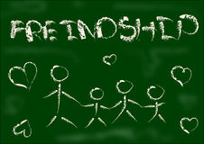 Friendship drawing Chalk on black board. Friend freinds friendships relation reationship love teacher chalks line white heart people friendly lovely march day Royalty Free Stock Images
