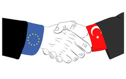 The friendship between Europe Union and Turkey Royalty Free Stock Photo
