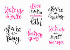 Friendship Family Romantic love lettering set Royalty Free Stock Photography