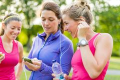 Friendship and fitness in the parc stock photos