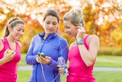 Friendship and fitness in the parc Stock Photography