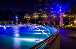 The Friendship Fountains and buildings at night in Jacksonville, Stock Images