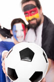 Friendship France and Germany, Football in the front, lovely cou Royalty Free Stock Photos