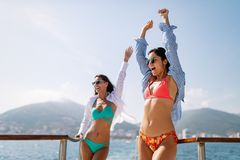 Friendship freedom beach fun summer vacation concept royalty free stock images
