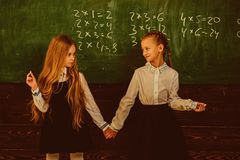 Friendship. friendship of two school girls. friendship concept. friendship relations of little girls in school. work royalty free stock photos