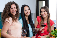 Friendship and good time over a glass of wine. Happy female friends enjoying in the kitchen, spending great time, drinking wine and enjoying while cooking stock photos