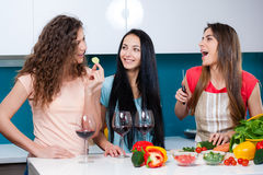 Friendship and good time over a glass of wine. Stock Photos