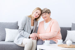 Friendship between grandmother and granddaughter Stock Photography