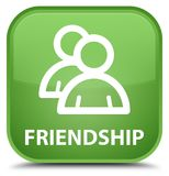 Friendship (group icon) special soft green square button Stock Photo