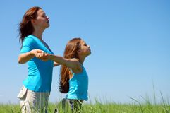 Friendship and happiness of mum and daughter Stock Photo
