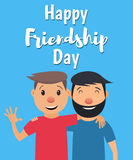 Friendship-01. Happy Friendship Day. Two friends hugging and smiling. Vector illustration in flat style Stock Image