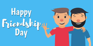Friendship-02. Happy Friendship Day. Two friends hugging and smiling. Vector illustration in flat style Royalty Free Stock Photos