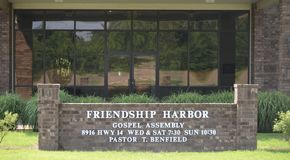 Friendship Harbor Church Sign, Millignton, TN. Friendship Harbor Church provides religious services in the field of Non-profit Organizations. The business is Stock Image