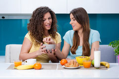 Friendship and healthy lifestyle eating at home. stock image