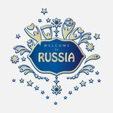Soccer 2018 Russia World Cup. 2018 World Cup Football Welcome to Russia lettering, gold logo, abstract folk art elements red background, vector illustration Stock Images