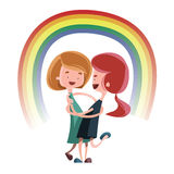 Friendship hug under rainbow  illustration cartoon character Stock Images
