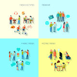 Friendship Icons Set Stock Images