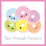 Friendship illustration with cute donuts on pink frame Royalty Free Stock Images