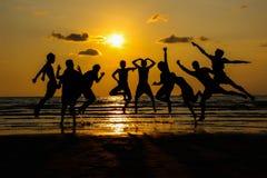 Friendship jump. On trip at chantaburi thailand Stock Photo